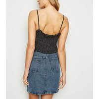 Tall Blue Acid Wash Denim Mom Skirt New Look
