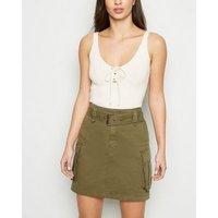 Tall Khaki Utility Denim Skirt New Look