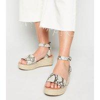 Wide Fit Stone Faux Snake Flatform Sandals New Look Vegan