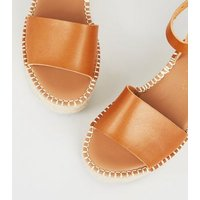 Wide Fit Tan Leather-Look Flatform Sandals New Look