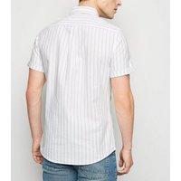 White Vertical Stripe Short Sleeve Oxford Shirt New Look