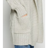 Pale Grey Cable Knit Longline Cardigan New Look
