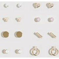 9 Pack Gold Diamante Mixed Stud Earrings New Look