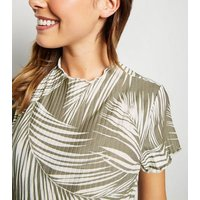 Maternity Green Palm Print Ribbed Midi Dress New Look