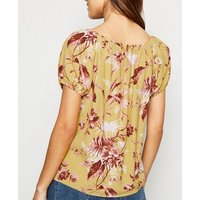 Yellow Tropical Tie Front Milkmaid Top New Look