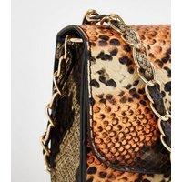 Orange Animal Print Faux Croc Chain Shoulder Bag New Look