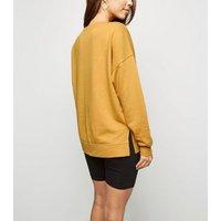 Mustard Living My Best Life Slogan Sweatshirt New Look