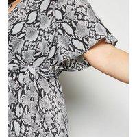 Blue Vanilla Curves Light Grey Snake Print Wrap Dress New Look