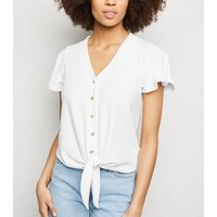 Cream Ribbed Button Tie Front Top New Look