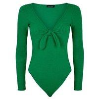 Green Ribbed Tie Front Bodysuit New Look