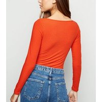 Red Ribbed Tie Front Bodysuit New Look