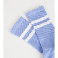 Pale Blue Stripe Sports Socks New Look