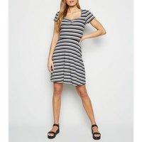 Black Stripe Jersey Skater Dress New Look
