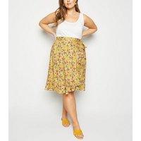 Curves Yellow Ruffle Wrap Mini Skirt New Look