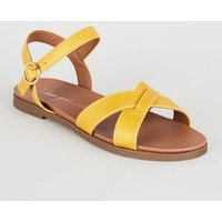 Wide Fit Mustard Leather-Look Cross Strap Sandals New Look