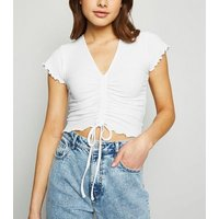 White Ribbed Ruched Crop Top New Look