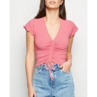 Pink Ribbed Ruched Crop Top New Look