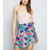 Pink Vanilla Pink Tropical Wrap Front Skirt New Look