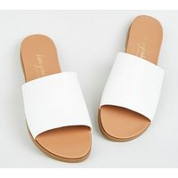 White Leather-Look Strap Footbed Sliders New Look