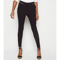 Tall Black Zip Front Slim Stretch Trousers New Look