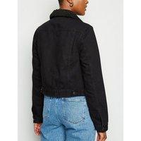 Black Borg Collar Denim Jacket New Look