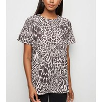 Stone Mixed Animal Print T-Shirt New Look