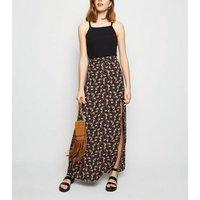 Black Floral Split Side Maxi Skirt New Look