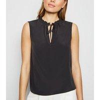 Black Keyhole Tie Neck Sleeveless Top New Look