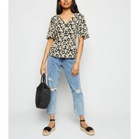 Petite Black Daisy Peplum Top New Look