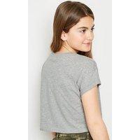 Girls Grey No Photos Please Slogan T-Shirt New Look