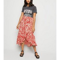 Petite Red Zebra Print Ruffle Midi Skirt New Look