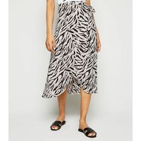 Petite Black Tiger Print Wrap Midi Skirt New Look