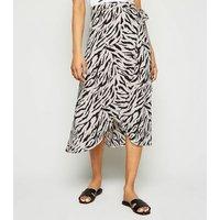 Petite Black Tiger Print Wrap Midi Skirt New Look
