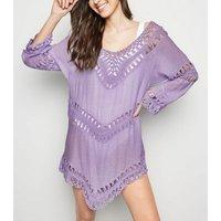 Cameo Rose Purple Crochet Panel Kaftan New Look