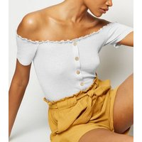 Tall Cream Ribbed Button Bardot Top New Look