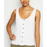 Tall White Ribbed Button Front Vest New Look