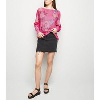 Cameo Rose Pink Neon Floral Fine Knit Jumper New Look