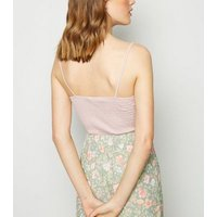 Pink Shirred Frill Trim Cami New Look