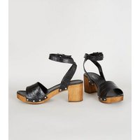 Black Premium Leather Chunky Wood Sandals New Look