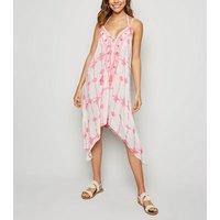 Pink Neon Tie Dye Sequin Hanky Hem Beach Dress New Look