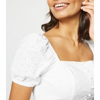 White Broderie Square Neck Button Up Top New Look