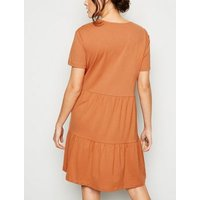 Rust Short Sleeve Smock Dress New Look