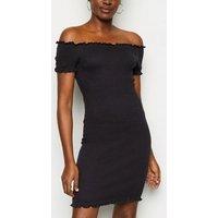 Black Bardot Shirred Jersey Mini Dress New Look