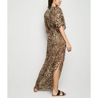 Brown Leopard Print Maxi Beach Dress New Look