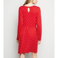Red Floral Long Sleeve Jersey Smock Dress New Look