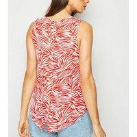 Red Zebra Print Sleeveless Top New Look