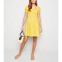 Yellow Shirred Jersey Milkmaid Dress New Look