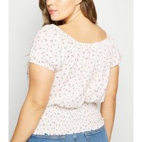 Curves White Ditsy Floral Milkmaid Top New Look