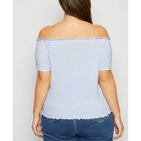 Curves Pale Blue Button Front Bardot Top New Look