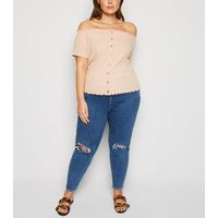 Curves Pale Pink Button Front Bardot Top New Look